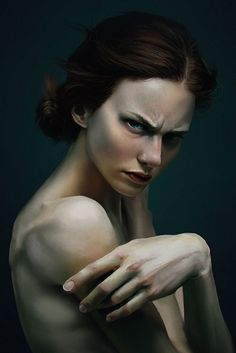 """""""Portrait Practice"""" - Nicolas Avon {figurative realism art female head large hand angry woman face cropped #hyperreal digital painting} Attitude!!"""