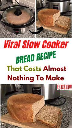 Slow Cooker Bread, Crock Pot Slow Cooker, Slow Cooker Recipes, Crockpot Recipes, Bread Maker Recipes, Good Food, Yummy Food, Bakeries, Dry Yeast