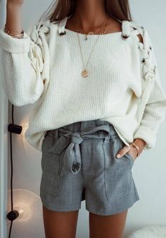 trendy outfit / white lace up sweater + grey shorts