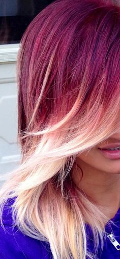 Red to blonde ombre with a side swept bang