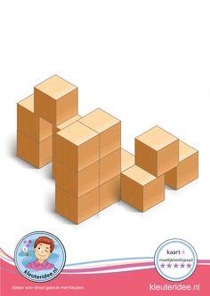 Bouwkaart 4 moeilijkheidsgraad 5 voor kleuters, kleuteridee, Preschool card building blocks with toddlers 10, difficulty 5, free printable. Block Center, Block Area, Cube Pattern, Pattern Blocks, Math Lab, Math Crafts, Math Stem, Busy Boxes, Learning Through Play