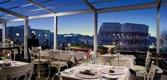 Aroma restaurant overlooking colosseum
