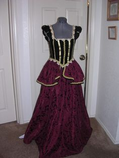 Burgundy and black velvet gown by customecostumer on Etsy, $250.00