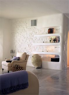 design by Paros House overlooking the Aegean - Design – supervision : Alexandros Logodotis .............. Associates : Vathrakokoilis Dimitris, Architect - Πάρος, Greece - 2003 - alexandros logodotis #livingarea #architecture #interiors