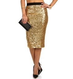 Gold Sequin Pencil Skirt at WindsorStore