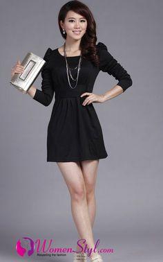 Women black casual dreses
