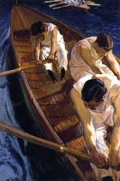 In the Rowboat Joaquin Sorolla y Bastida Boat Painting, Figure Painting, Maurice De Vlaminck, Oil Portrait, Fashion Painting, True Art, Art For Art Sake, Carl Larsson, Vintage Artwork