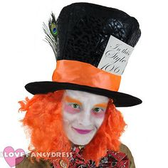 Deluxe mad #hatter top hat #orange wig hair fancy dress #costume accessory,  View more on the LINK: 	http://www.zeppy.io/product/gb/2/291510771603/