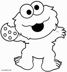 Baby sesame street coloring pages ~ Cookie monster face template | Sesame Street Birthday ...