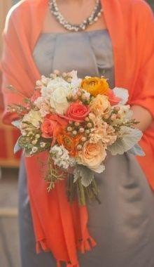 charcoal grey and orange bridesmaid dress combo possibility