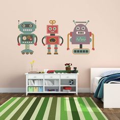 Children's Retro Robot Sticker Set by Oakdene Designs, the perfect gift for Explore more unique gifts in our curated marketplace. Robot Bedroom, Kids Bedroom, Kids Rooms, Bedroom Ideas, Bedroom Decor, Vintage Robots, Retro Robot, Kids Room Wall Stickers, Childrens Wall Stickers