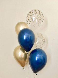 Navy Chrome Gold & Gold Confetti Look Latex Balloon~First Birthday~Baby Shower~Bridal Shower~Wedding~Navy Gold Decor~Gold Confetti Balloon Navy Bridal Shower, Bridal Shower Balloons, Summer Bridal Showers, Gold Baby Showers, Bridal Shower Rustic, Balloon Centerpieces, Balloon Decorations Party, Balloon Garland, Bridal Shower Decorations