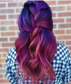 Riot hairstyles by pulp riot mermaid bright hair colour curls haircut. Funky Hairstyles, Pretty Hairstyles, Medium Hairstyles, Purple Hair, Ombre Hair, Violet Hair, Turquoise Hair, Neon Hair, Purple Lilac