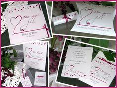 """Hochzeitskarten """"Herzblume"""" in weiß mit aubergine"""