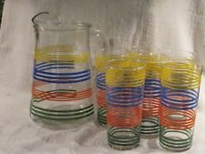 VINTAGE IN BOX INDIANA GLASS DECORATED CRYSTAL 7 PC STRATA PITCHER/4 Pc GLASS