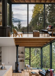This modern cabin has lightly painted panels and soft pine plywood to help warm and brighten the interior, while the floor-to-ceiling windows provide sweeping views of the trees and water. #ModernCabin #Windows #FullHeightWindows
