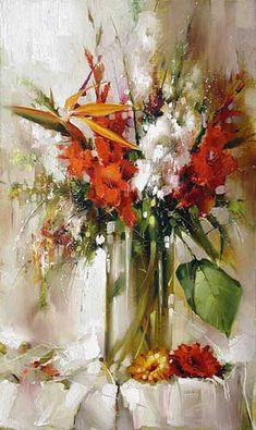 Ramil Gappasov is Russian painter, who lives and works in Moscow. Member of the Artists Union of Russia, member of the International Art Fund. Painting Still Life, Still Life Art, Flower Painting Canvas, Watercolor Paintings, Art Floral, Flower Vases, Flower Art, Art Fund, Impressionism Art