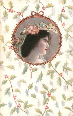 circular inset woman's head facing right, background design of holly