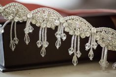 Beaded wedding garters - Style R14 (Ready to ship) | MillieIcaro