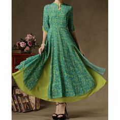 Women's Elegant Green High-end Vintage False Two Piece Long Chiffon Dress Kurta Designs, Blouse Designs, Chiffon Dress Long, Maxi Dress With Sleeves, Dress Up, Slit Skirt, Sleeve Dresses, Indian Attire, Indian Wear