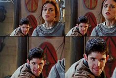 """""""Casually going through MerlinMorgana deleted scene when I found this. That is not an """"I'ma kill you"""" face: that's an """"I'ma snog you"""" face. xP Oh, gosh. --description and edit by DestinyandDoom"""""""