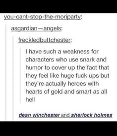 Except the fact that, you know, dean is a canon psychopath and Sherlock is a canon sociopath