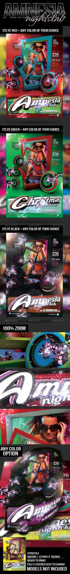 Amnesia Nightclub    #GraphicRiver         Amnesia Nightclub  	 Fully Layered / Easy to Adjust / Print Ready 1275PX x 1875PX – 300DPI – CMYK fonts use are listed in help file available in download  	 Image used can be found here: sexy blonde dj girl – photodune /item/sexy-blonde-dj-girl/2649020?WT.ac=category_thumb&WT.seg_1=category_thumb&WT.z_author=stryjek  	  Party Flyers  	 One Love        	 One Love      One Heart       5 Stars  Created: 12November12 GraphicsFilesIncluded: PhotoshopPSD…