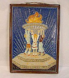 Art Deco Delft Commemorative Plaque Tile.