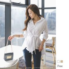 Buy GUMZZI Tied-Waist Blouse at YesStyle.com! Quality products at remarkable prices. FREE WORLDWIDE SHIPPING on orders over US$35.