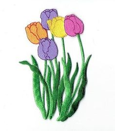 Iron On Embroidered Applique Patch Five Tulip Flowers Purple Pink Orange Yellow
