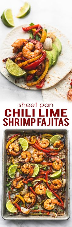 ONE PAN Chili Lime Shrimp Fajitas have the best flavor and are ready in just 20 minutes! Fish Recipes, Seafood Recipes, Mexican Food Recipes, Vegetarian Recipes, Cooking Recipes, Healthy Recipes, Vegetarian Cooking, Seafood Bake, Korean Recipes