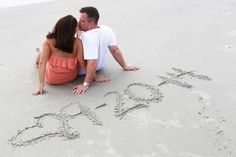 Beach engagement picture with date -- NOTICE THE DATE!!