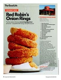 Red Robin Onion Rings and Campfire Sauce Onion Ring Sauce, Red Robin Recipes, Appetizer Recipes, Appetizers, Appetizer Party, Baked Onion Rings, Baked Onions, Copykat Recipes, Onion Recipes