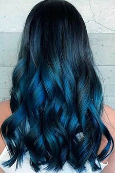 Are you looking for dark blue hair color for ombre and teal? See our collection full of dark blue hair color for ombre and teal and get inspired! Dark Blue Hair, Long Black Hair, Hair Dye Colors, Ombre Hair Color, Cool Hair Color, Blue Tips Hair, Blue Ombre, Blue Black Hair Color, Dyed Hair Blue