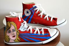 Pop art style handpainted converse unique gift by Dariacreative, $75.00