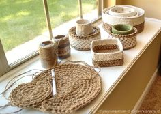 Working on several crochet baskets at the same time!
