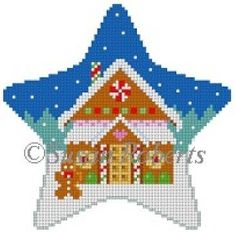 """Star, Gingerbread House"" painted canvas by Susan Roberts Size: x Mesh Count: 18 Plastic Canvas Ornaments, Plastic Canvas Crafts, Plastic Canvas Patterns, 50 Diy Christmas Decorations, Beaded Christmas Ornaments, Christmas Charts, Christmas Cross, Needlepoint Designs, Needlepoint Kits"