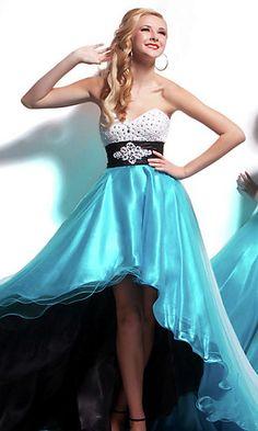 Mac Duggal Strapless Hi Low Prom Dress at PromGirl.com