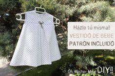 DIY Ropa bebé: Cómo hacer vestido de bebé niña muy fácil (patrón en vari...