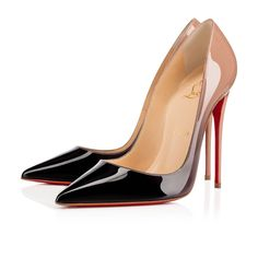 """""""So Kate's"""" pointed toe and superfine stiletto heel give her an eye-catching allure.  Her dramatic pitch provides you with a supremely sexy 120mm silhouette. Get this coveted pump in sultry black-to-nude dégradé patent leather."""