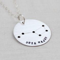 Big Dipper Constellation Necklace - Ursa Major Astrological Zodiac Sign Jewelry, Sterling Silver