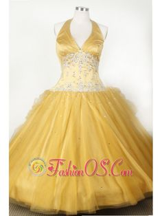 Appliques and Beading For Little Girl Pageant Dresses With Gold Halter  http://www.fashionos.com  Star in your own fairytale at your 2012 prom or formal in this sensational halter neckline ball gown. Speicl V-neck and the gold color makes you like a little queen in your prom.