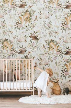 Woodland Animals Wallpaper Mural | anewalldecor on Etsy #nurserydecor