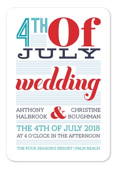 Fourth of July Wedding - Wedding Invitations by Invitation Consultants. (Item # IC-RLP-RD-24 )