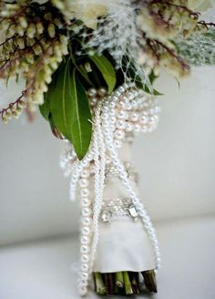 Pearl strings on a bridal bouquet