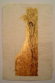 Jaques Villon (1875-1963) French Crucifixion Litho on gold leaf See critique at website
