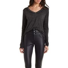 Charlotte Russe Black Burnout V-Neck Long Sleeve Top by Charlotte... ($15) ❤ liked on Polyvore featuring tops, black, sweater pullover, black long sleeve top, long sleeve pullover, black top and knit tops
