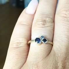 Another lovely Cluster #engagementring 3 different #shades of #blue #sapphires hammered 14k recycled gold  #dreamy ring for a #Saturday   #melissatysondesigns #custommade #bridal #oneofakind #design
