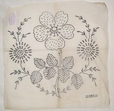 Vintage Deighton embroidery transfer - decorative flower & leaf large motif