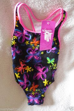 73b9426139fe4 Speedo Girl Swimming Suit One piece Size 4 Butterflies Print Neon Colors NWT